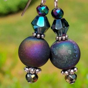 Handmade earrings with druzy rainbow beads
